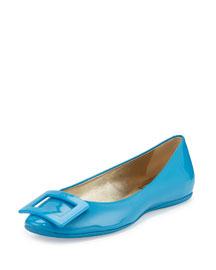 Patent Ballerina Buckle Flat, Bright Blue