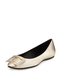 Gommette Metallic Leather Flat, Gold