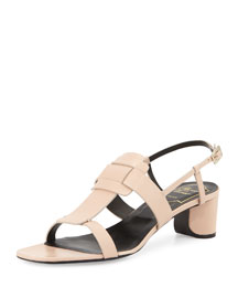 Leather Pilgrim-Buckle City Sandal, Beige