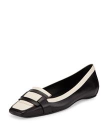 Bicolor Leather Pilgrim Flat, Black/White