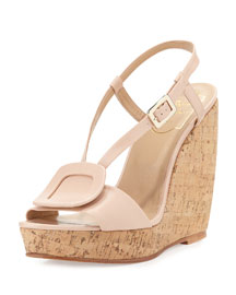 Leather Halter Wedge Sandal, Beige