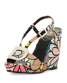Chips Flower-Print Wedge Sandal, Multi