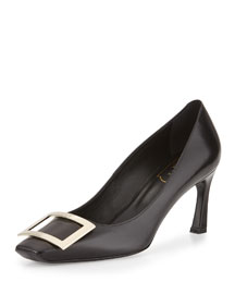 Trompette Leather Buckle 70mm Pump, Black