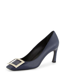 Belle Leather Buckle Pump, Navy