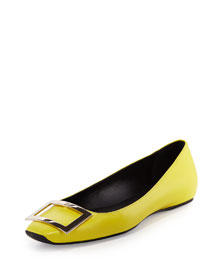 Trompette Leather Buckle Flat, Smile (Yellow)