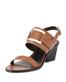 Skyscraper Buckled Leather City Sandal, Camel