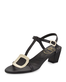 Chips Leather City Sandal, Black