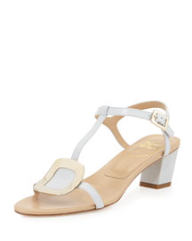 Chips Leather City Sandal, Gray