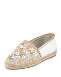 Flower-Embellished Lace Espadrille Flat, Silver/Gold
