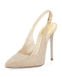 Crystal-Embellished Slingback Pump, Beige Gold