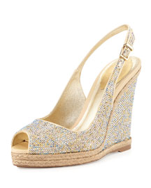 Crystal Wedge Espadrille Sandal, Gold