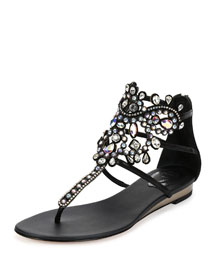 Crystal-Cage Leather Flat Sandal, Black
