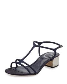 Crystal-Embellished T-Strap Block-Heel Sandal, Navy
