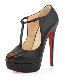 Alta Poppins T-Strap Red Sole Pump, Black