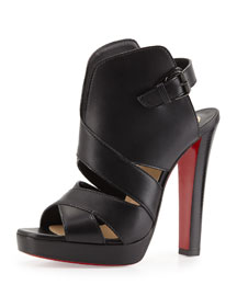 Apron Lili Cutout High-Vamp Red Sole Sandal, Black