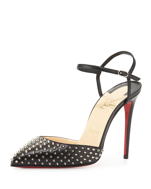 Christian Louboutin Biala Spike Leather Red Sole Pump, Black, Women's, Size: 39.0B/9.0B, Black/Silver