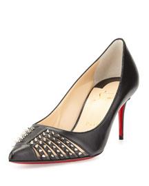 Baretta Studded Low-Heel Red Sole Pump, Black