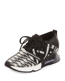 Lunatic Woven Lace-Up Sneaker, Black/Gray