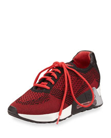 Lucky Knit Lace-Up Sneaker, Red/Black