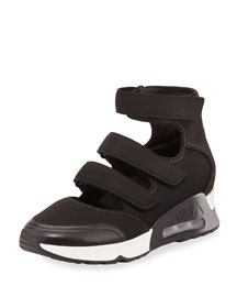 Luna Triple Grip-Strap Sneaker, Black