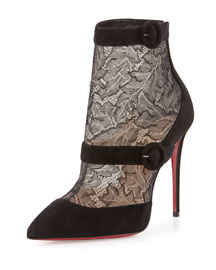Boteroboot Lace/Suede Red Sole Boot, Black