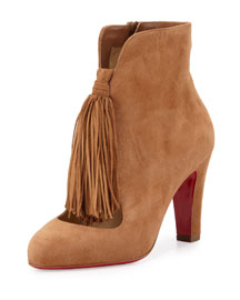 Christina 85mm Suede Tassel Red Sole Bootie