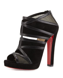 Commandanta Suede/Mesh Peep-Toe Red Sole Bootie, Black