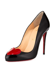 Doracora Patent Heart Red Sole Pump, Black/Red
