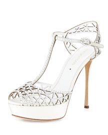 Crystal-Embellished T-Strap Sandal, White (Bianco)