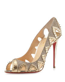 Circus City Spiked Cutout Red Sole Pump, Gold