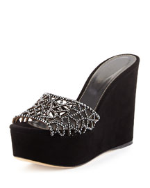 Tressor Crystal-Band Suede Wedge Sandal, Black