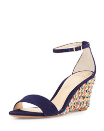 Woven Jute Wedge Sandal, Navy/Multi