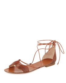 Python Ankle-Wrap Flat Sandal, Sierra