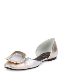 Two-Tone Metallic Buckle d'Orsay Flat, Silver/Gold