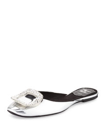 Ciabattina Strass-Buckle Slide Flat, Silver