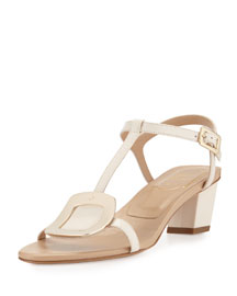 Leather Chips 45mm Sandal, White