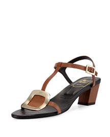 Leather Chips 45mm Sandal, Cognac