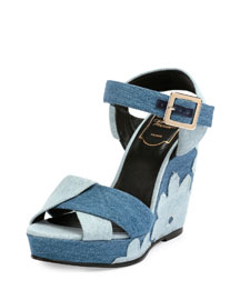 Patchwork Denim Wedge Sandal, Baltic Chiaro/Air