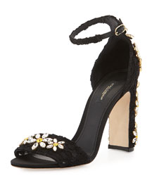 Daisy-Jewel Lace Sandal, Black