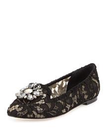 Jewel-Embellished Lace Loafer, Black