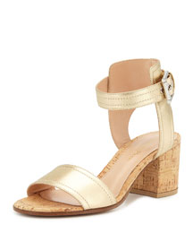 Metallic Leather Cork Block-Heel Sandal