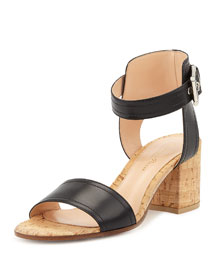 Leather Cork Block-Heel Sandal, Black