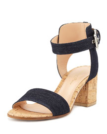 Denim Cork Block-Heel Sandal