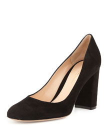 Suede Block-Heel 85mm Pump, Black