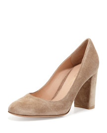 Suede Block-Heel 85mm Pump, Bisque