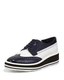 Bicolor Leather Microsole Oxford, Navy/White