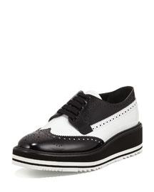 Bicolor Leather Microsole Oxford, Black/White