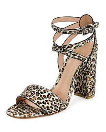 Calf-Hair Ankle-Wrap Block-Heel Sandal, Oncilla-Print