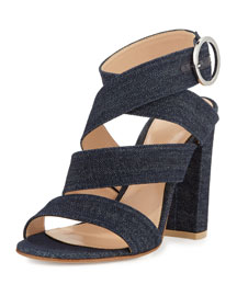 Strappy Denim 10mm Sandal, Blue