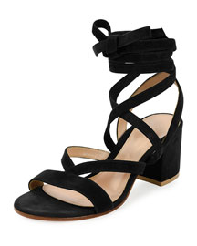 Strappy Suede Ankle-Wrap Sandal, Black